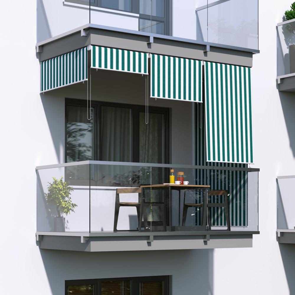 Roleta na balkon/markiza pionowa, Zielono-biały