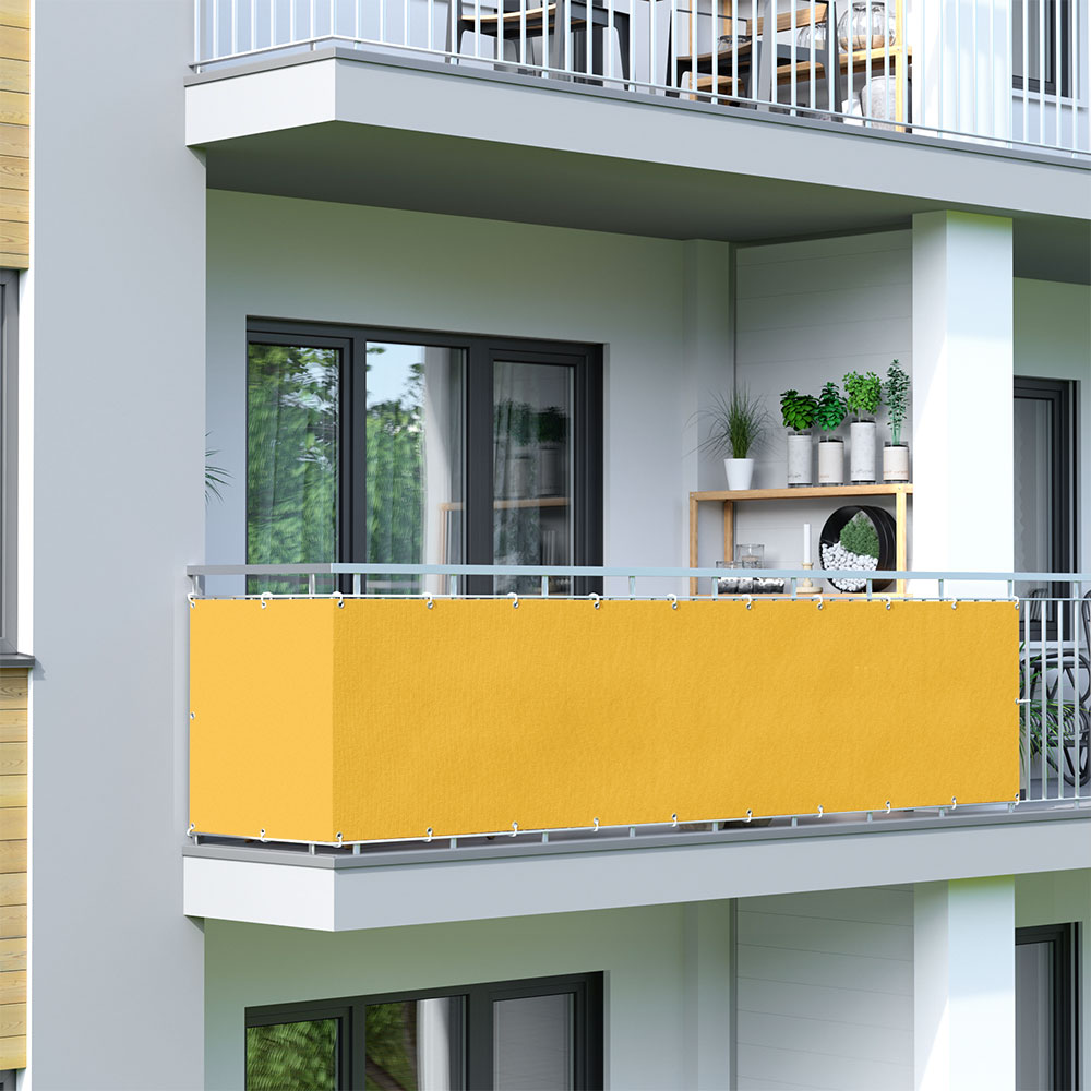 Osłona balkonowa Basic. z oddychającej tkaniny, Żółty