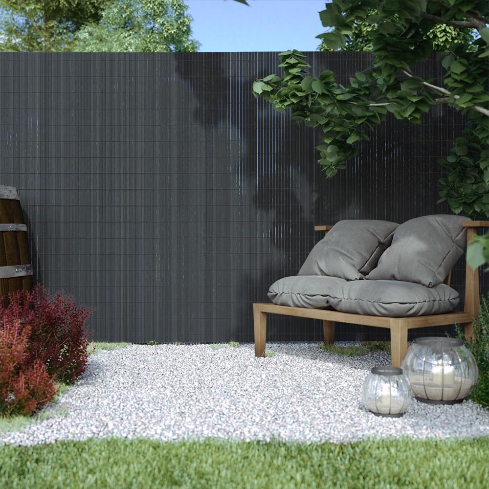 Płotek ogrodowy, Szary, 80cm x 300cm, PVC