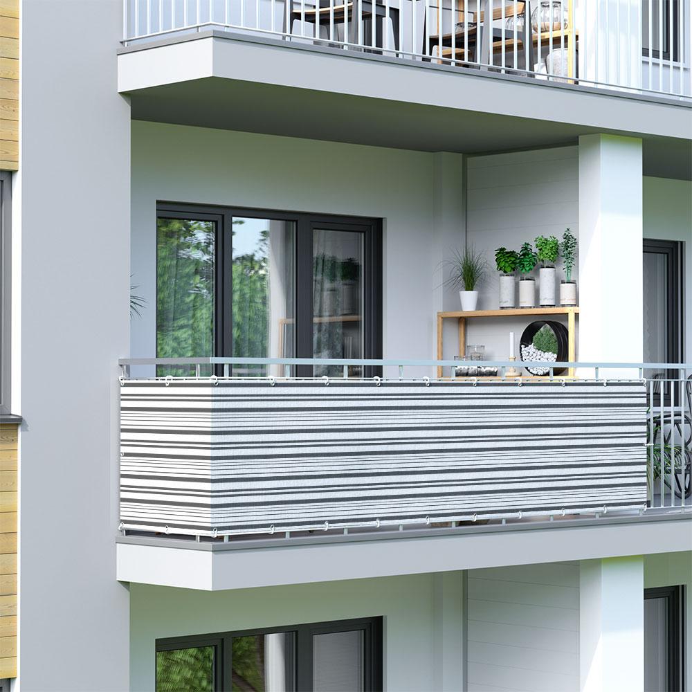 Osłona balkonowa Basic. z oddychającej tkaniny, Szaro-biały