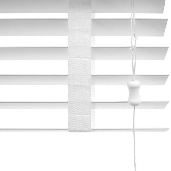 Żaluzja Faux Wood Biała 50mm z Białą Taśmą