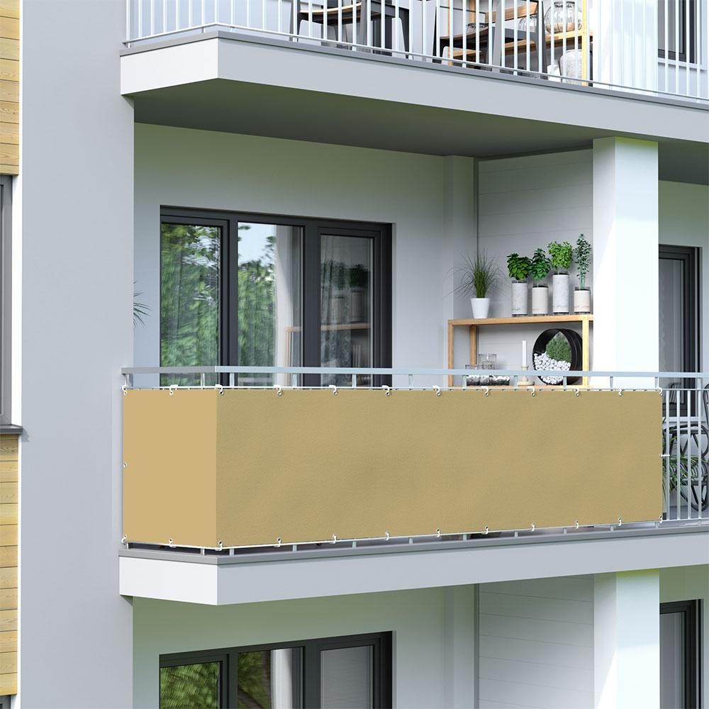 Osłona balkonowa Basic, wodoodporna, Piaskowy