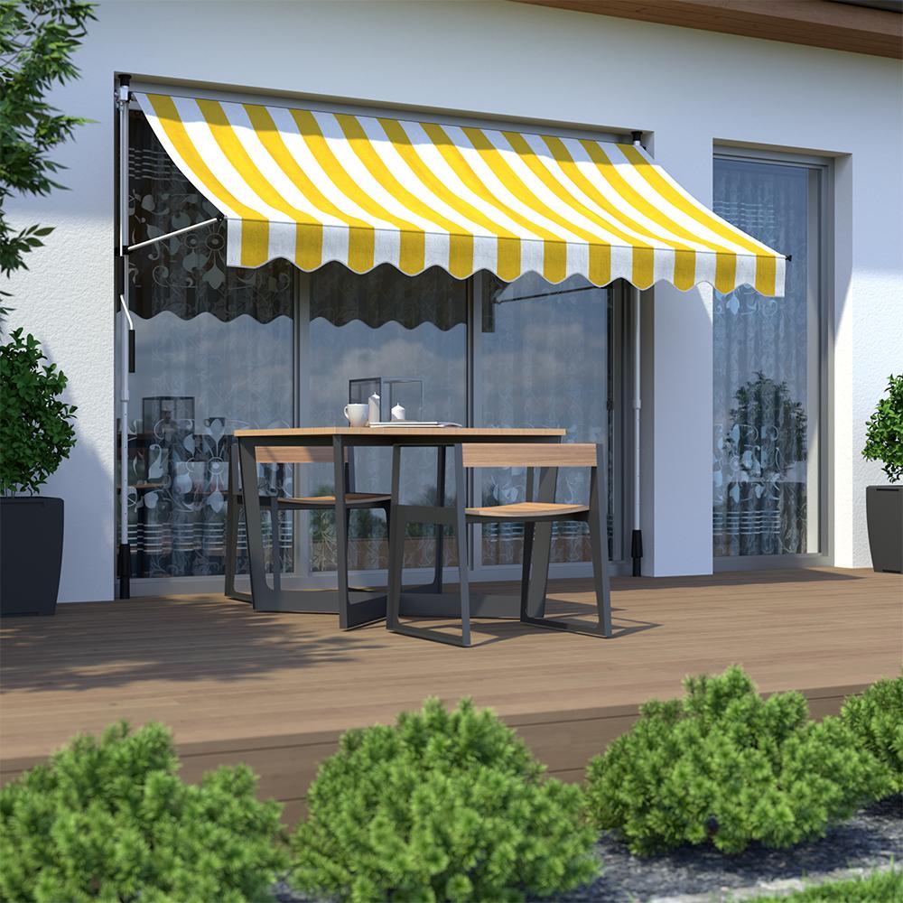 Markiza balkonowa, Gotowa, Żółto-biały
