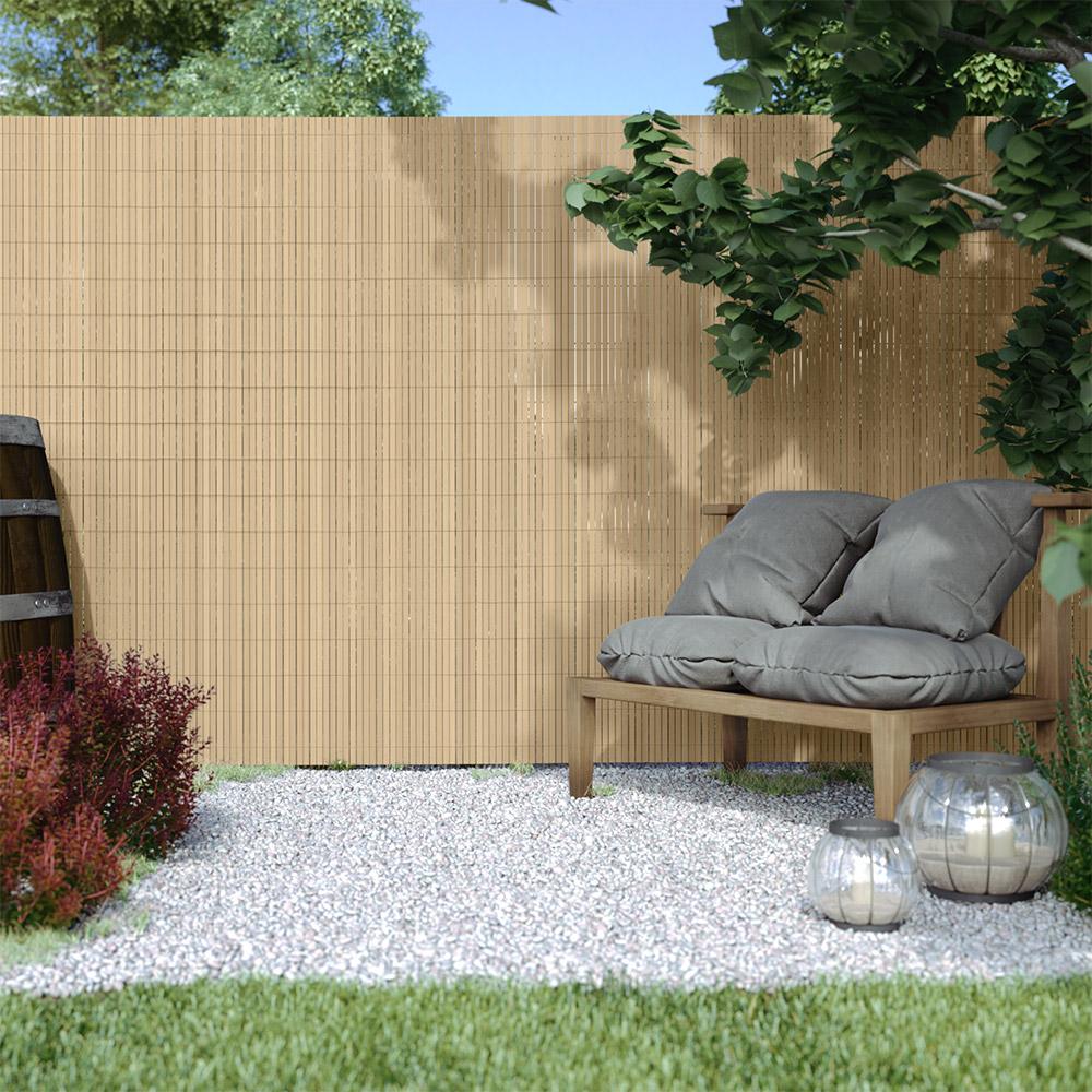 Płotek ogrodowy, Bambus, 180cm x 500cm, PVC