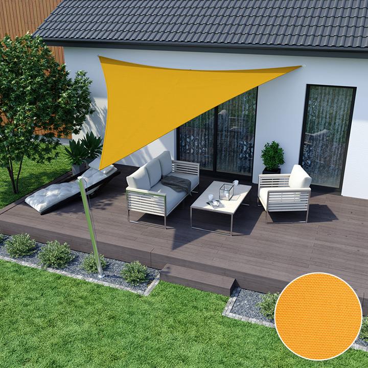 Żagiel przeciwsłoneczny, trójkątny, z tkaniny wodoodpornej, Żółty