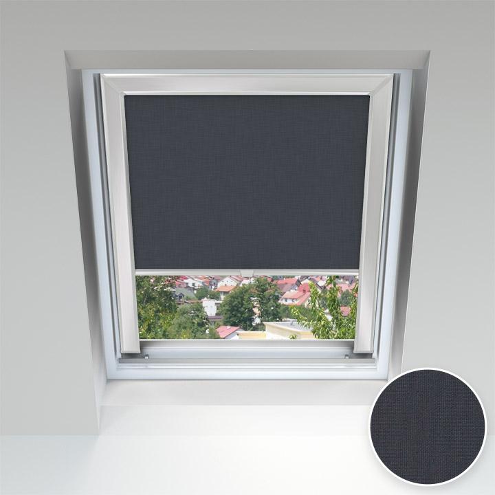 Roleta dachowa z prowadnicami, na wymiar, Czarny