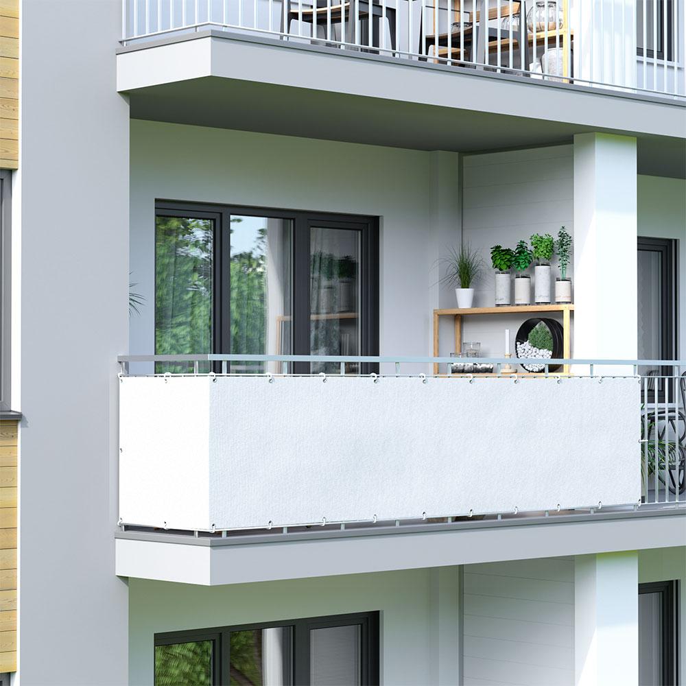 Osłona balkonowa Basic, z oddychającej tkaniny, Biały