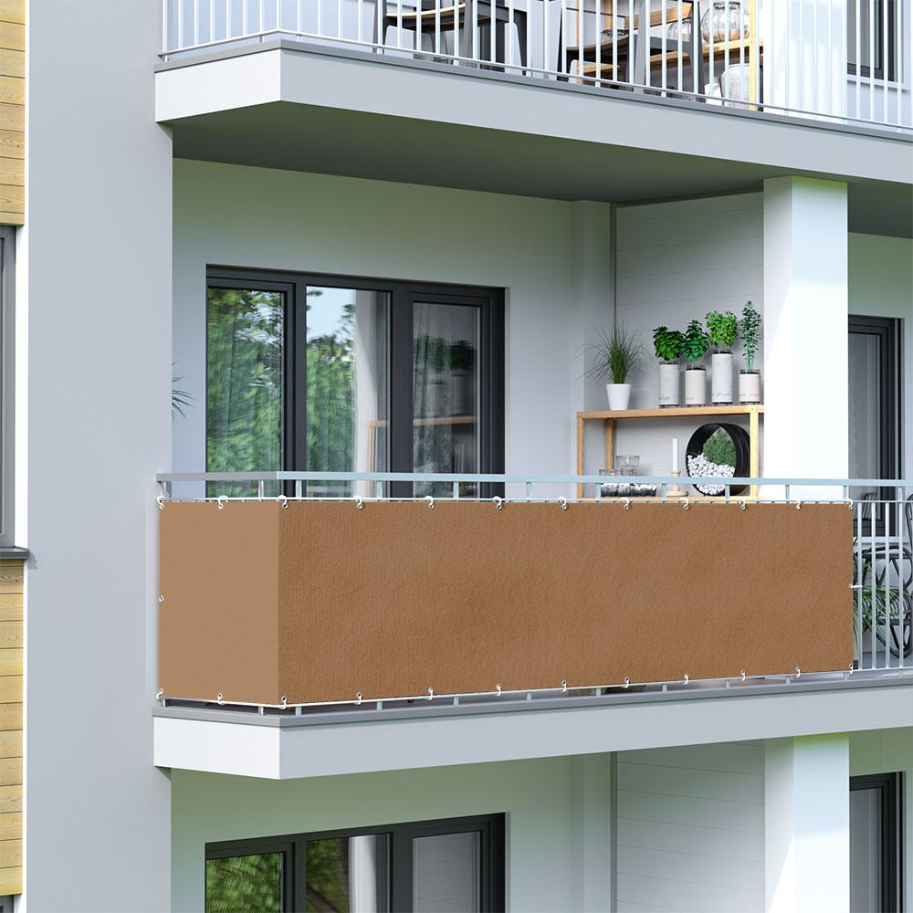 Osłona balkonowa Basic, z oddychającej tkaniny, Brązowy