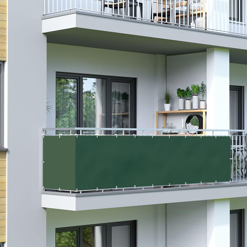 Osłona balkonowa Basic, wodoodporna, Ciemnozielony