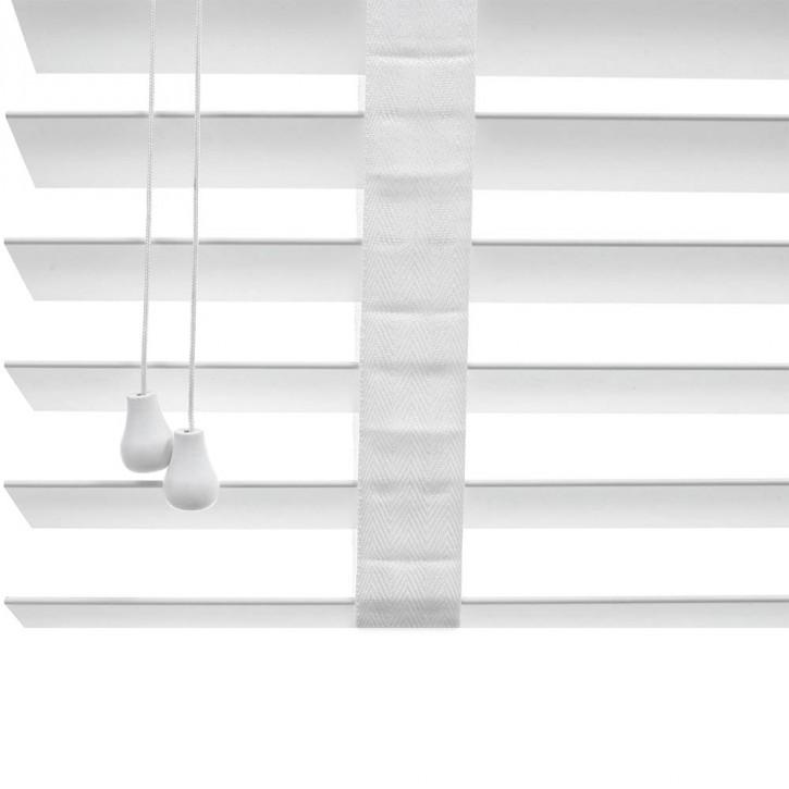 Żaluzja Drewniana Biała 50mm z Białą Taśmą Outlet