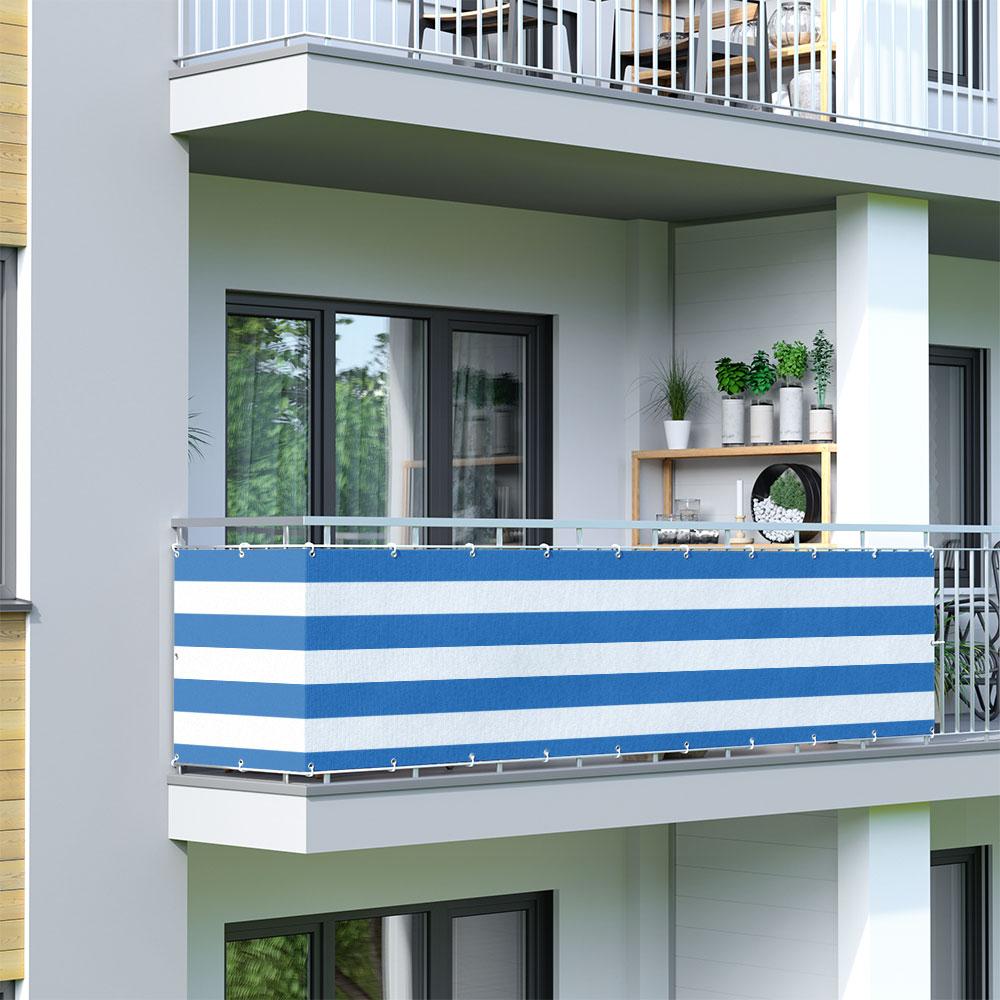 Osłona balkonowa Basic, z oddychającej tkaniny, Niebiesko-biały