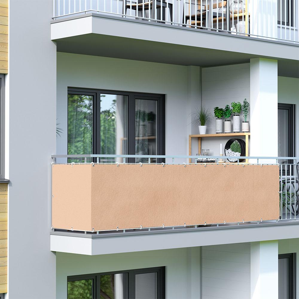 Osłona balkonowa Basic, z oddychającej tkaniny, Kość słoniowa
