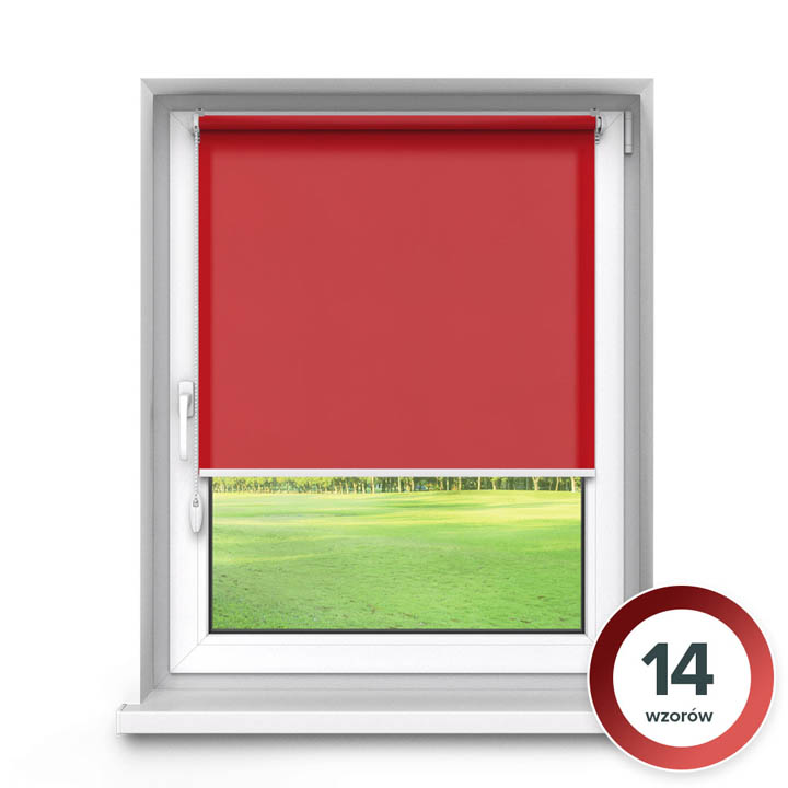 Rolety materiałowe bezinwazyjne, Przyciemniające, Na wymiar, PREMIUM, Czerwony