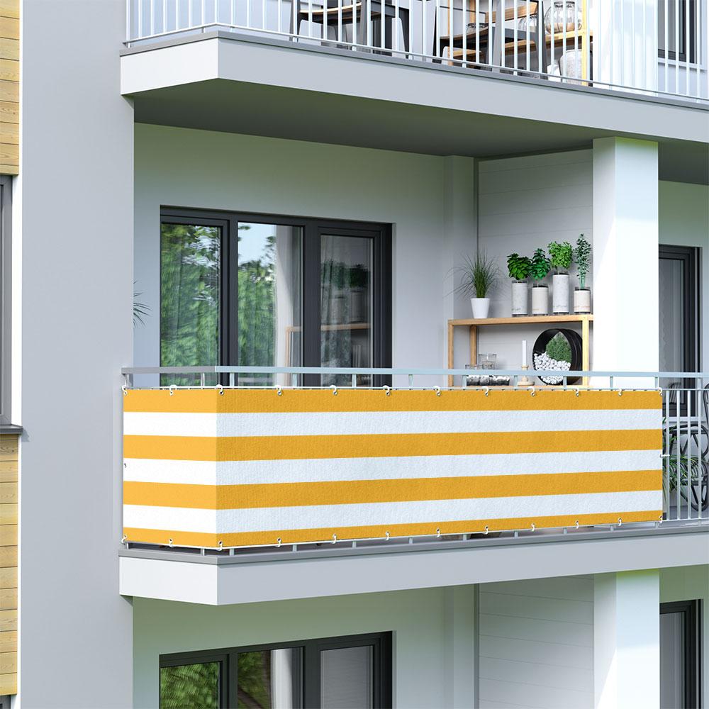 Osłona balkonowa Basic, z oddychającej tkaniny, Żółto-biały