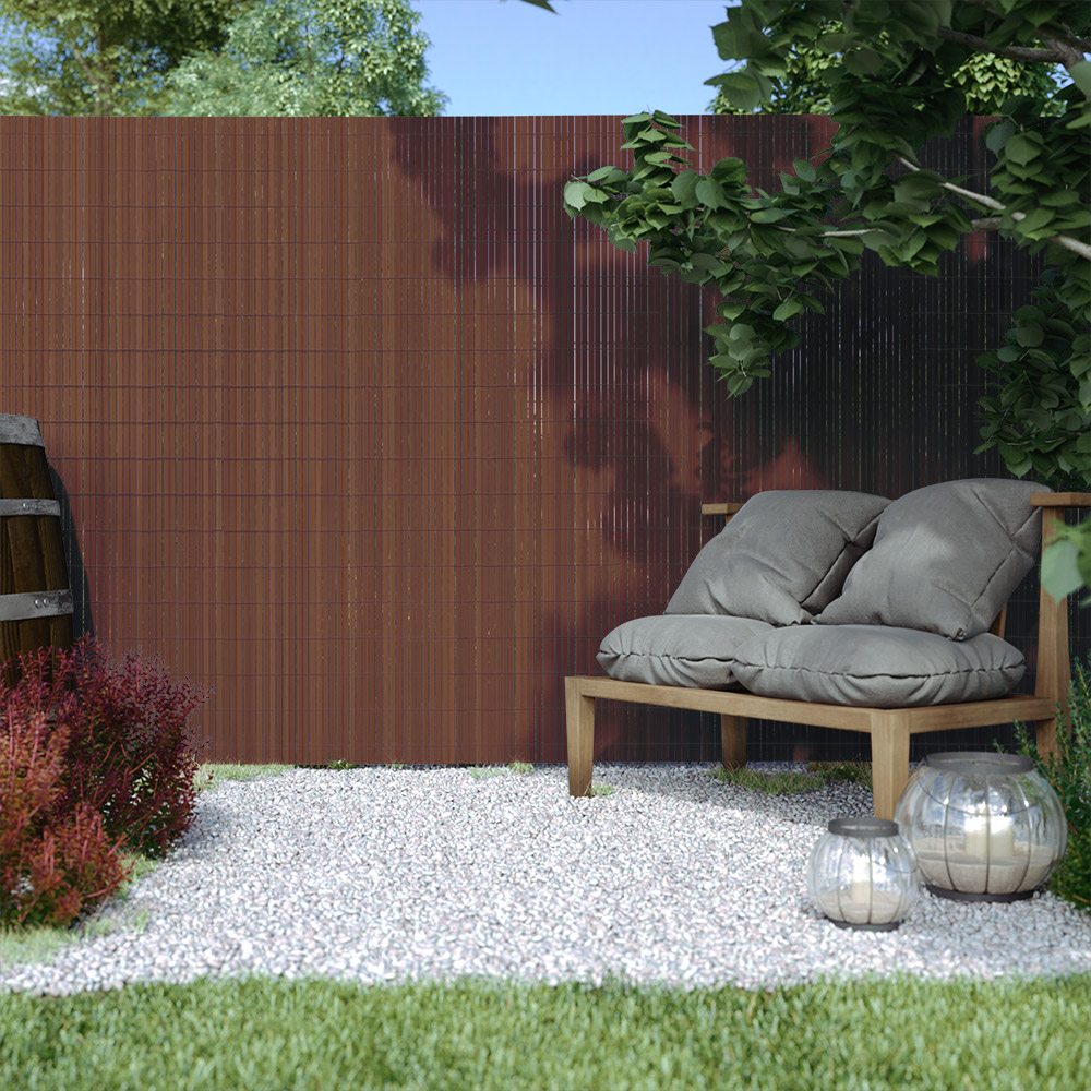 Płotek ogrodowy, Brązowy, 140cm x 300cm, PVC