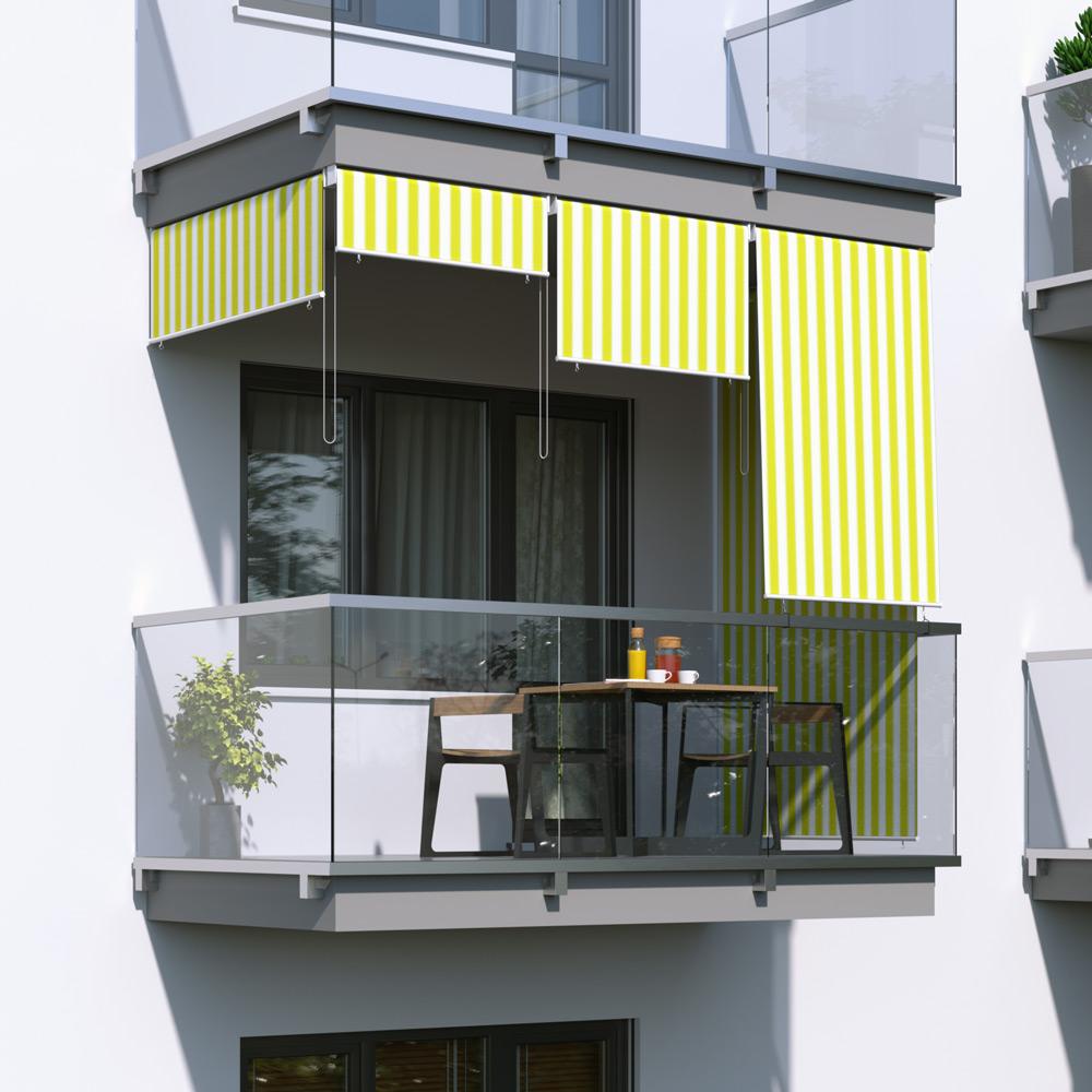 Roleta na balkon/markiza pionowa, Żółto-biały