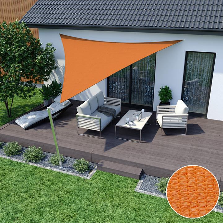 Żagiel przeciwsłoneczny, trójkątny, z tkaniny oddychającej, Pomarańczowy