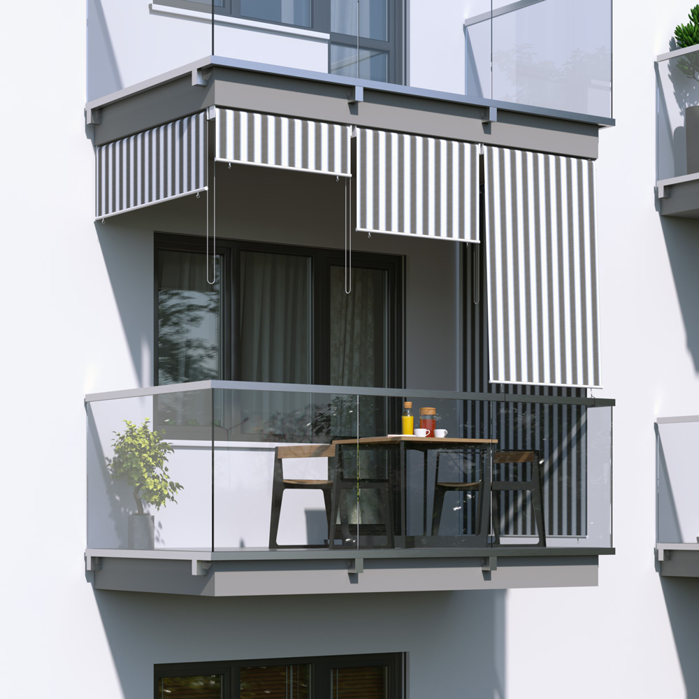 Roleta na balkon/markiza pionowa, Szaro-biały