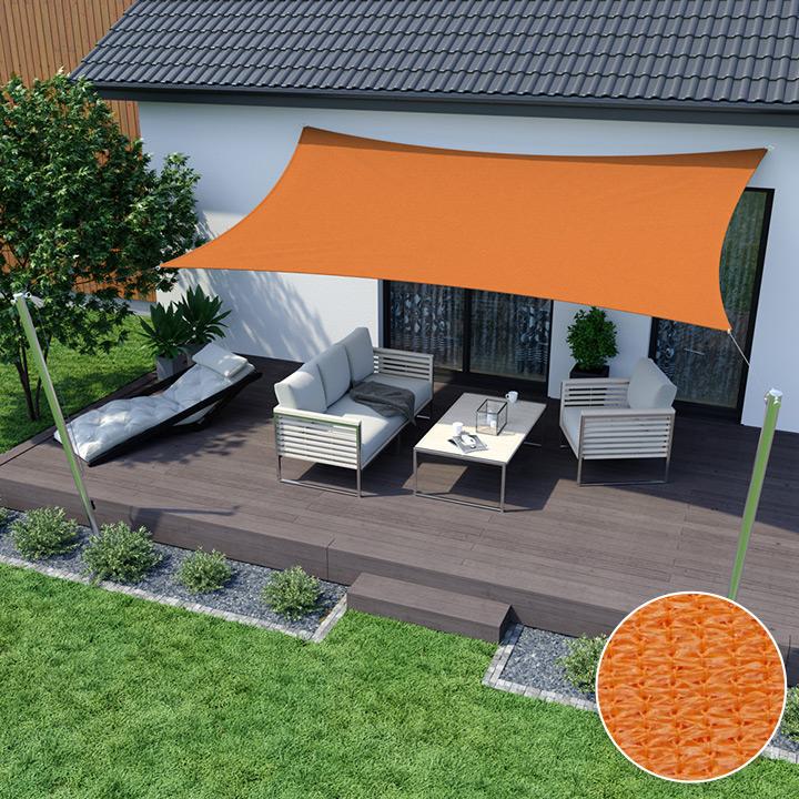 Żagiel przeciwsłoneczny, prostokątny, z tkaniny oddychającej, Pomarańczowy