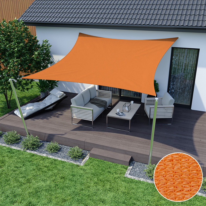 Żagiel przeciwsłoneczny, kwadratowy, z tkaniny oddychającej, Pomarańczowy