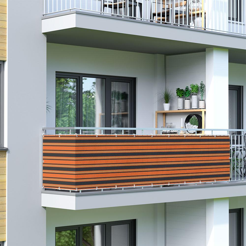 Osłona balkonowa Basic, z oddychającej tkaniny, Pomarańczowo-brązowo-czarny