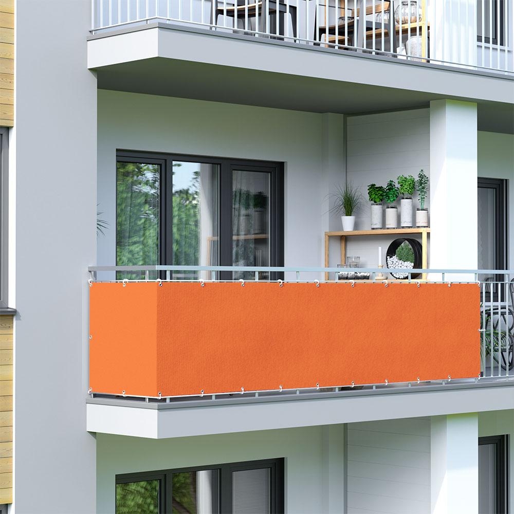 Osłona balkonowa Basic, z oddychającej tkaniny, Pomarańczowy
