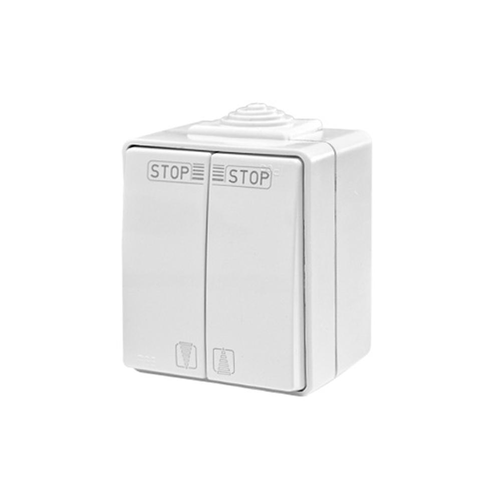 Podwójny włącznik natynkowy do pomieszczeń mokrych IP65
