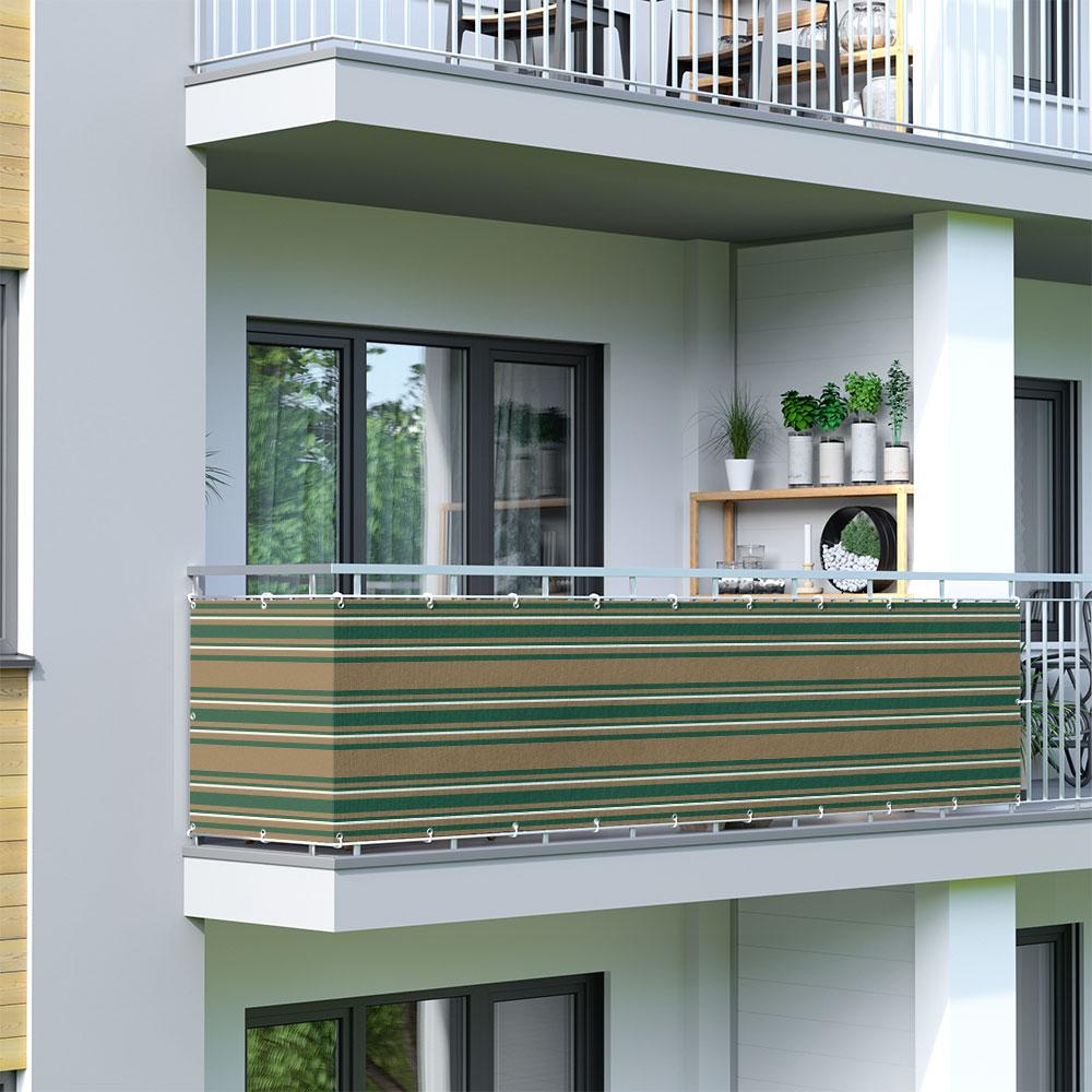 Osłona balkonowa Basic. z oddychającej tkaniny, Zielono-biało-brązowy