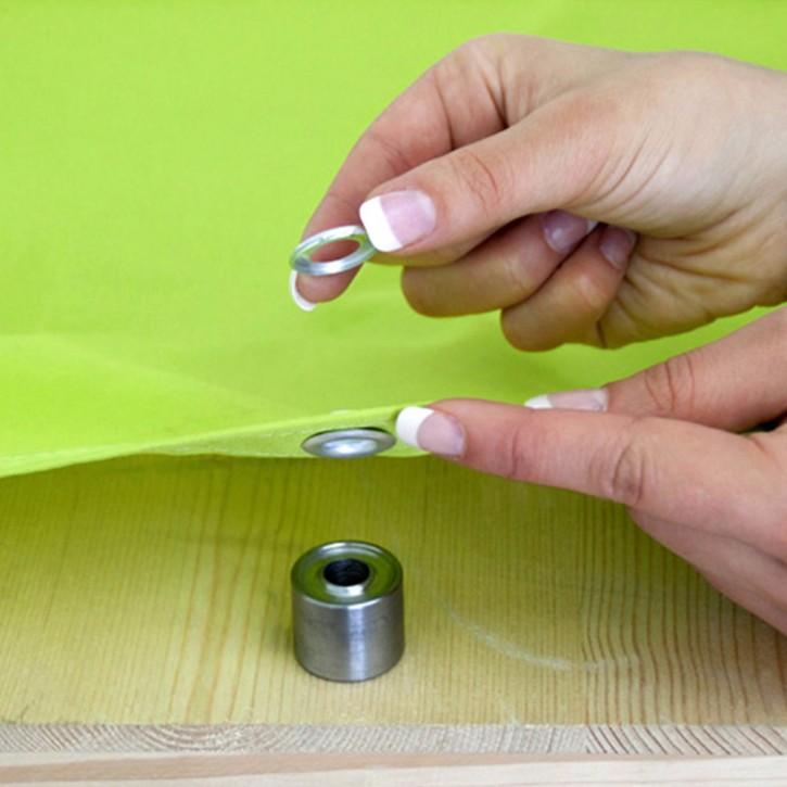 Zestaw do nitowania: zakuwak i wycinak do oczek + 10 nitów