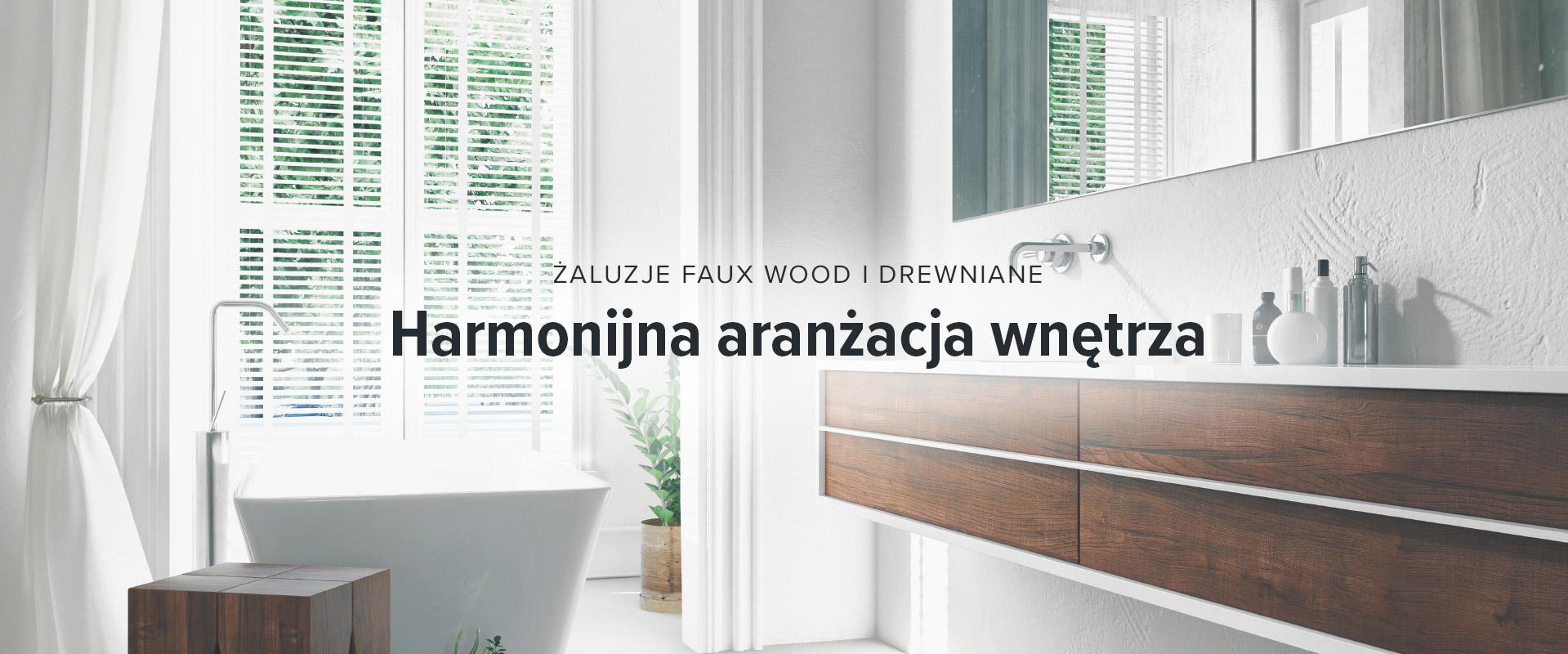 Żaluzje faux wood i drewniane