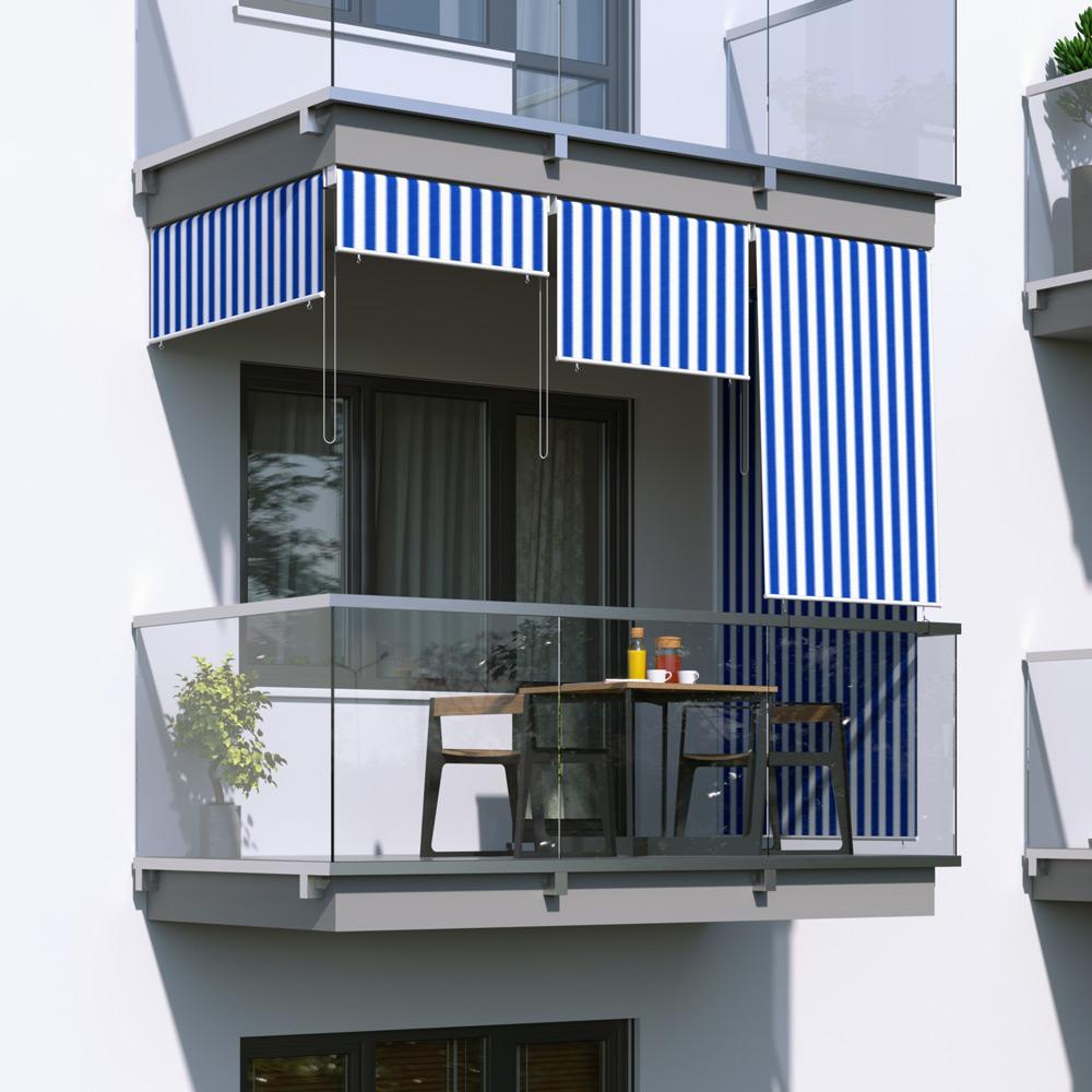 Roleta na balkon/markiza pionowa, Biało-niebieski