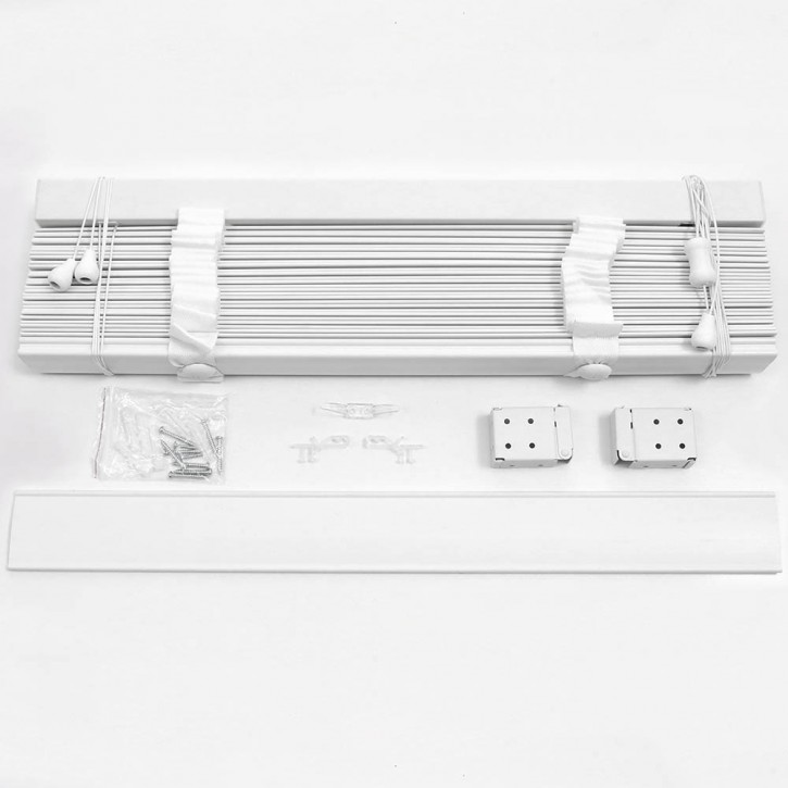 Żaluzja Drewniana Biała 50mm z Białą Taśmą, Gotowa