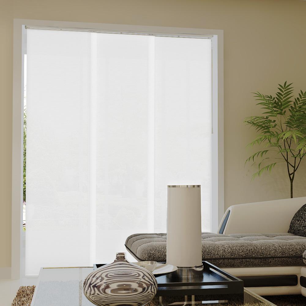 Zasłona panelowa z tkaniny strukturalnej, Gotowa, Biały, prążkowany