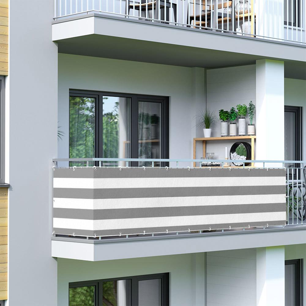 Osłona balkonowa Basic, z oddychającej tkaniny, Szaro-biały
